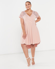 QUIZ Curves Lace High Low Dress Baby Pink