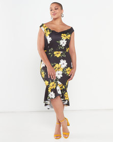QUIZ Curves Floral Bardot Midi Dress Black/Yellow