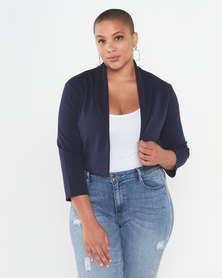 QUIZ Curves 3/4 Sleeve Crop Jacket Navy