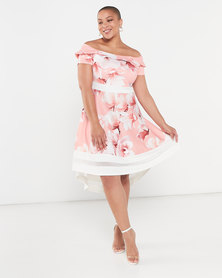 QUIZ Curves Floral Bardot Dress Coral/Cream
