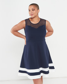 QUIZ Curves Skater Dress Navy/Cream