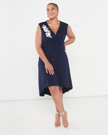 QUIZ Curves Wrap Sleeveless Dress Navy
