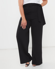 QUIZ Curves High Waisted Palazzo Trousers Black