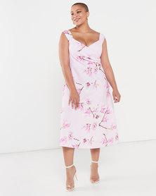 QUIZ Curves Floral Bardot Midi Dress Pink/Lilac
