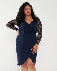 QUIZ Curves Lace 3/4 Sleeve Midi Dress Navy