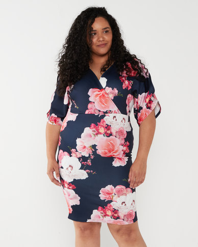 QUIZ Curves Floral Midi Dress Navy And Pink