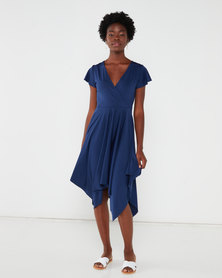QUIZ Frill Sleeve Wrap Dress Navy