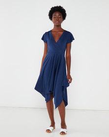 QUIZ Frill Sleeve Wrap Dress Navy