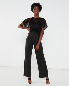 QUIZ Batwing Top With Sweetheart Lining Palazzo Jumpsuit Black