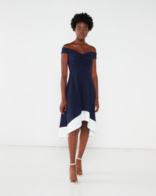 QUIZ Bardot Knot Front Dip Dress Blue