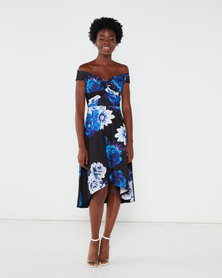QUIZ Marcella Floral Bardot Knot Front Dip Hem Dress Multi