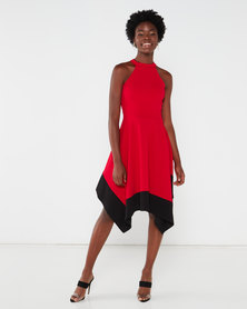 QUIZ Halter Hanky Hem Dress Red