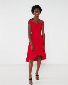 QUIZ Bardot Knot Dip Hem Dress Red
