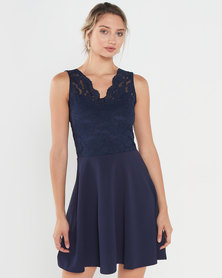 QUIZ Scalloped Neckline Skater Dress Navy