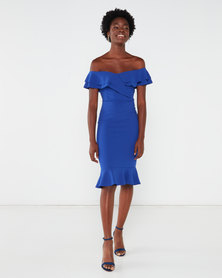 QUIZ Bardot Double Frill Midi Dress Royal Blue