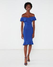 QUIZ Bardot Double Frill Midi Dress Royal Blue