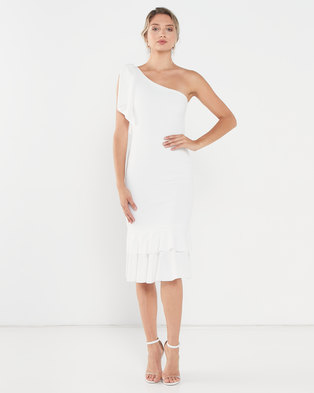 QUIZ One Shoulder Midi Dress Cream