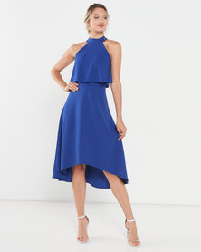 QUIZ Royal High Neck Midi Dress  Blue