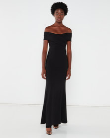 QUIZ Bardot Fishtail Maxi Dress Black