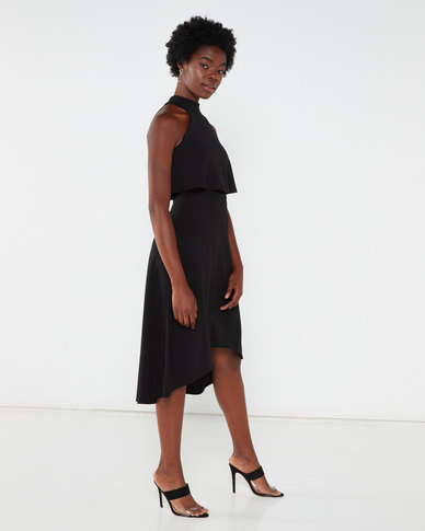 QUIZ High Neck Midi Dress Black