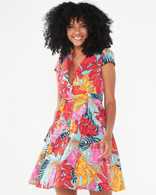 QUIZ Tropical Skater Dress Red/Pink/Orange