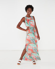 QUIZ Maxi Dress Green/Coral