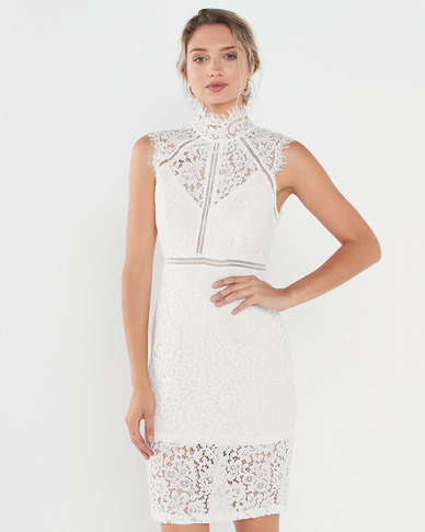 QUIZ Lace High Neck Midi Dress Cream
