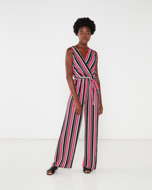 QUIZ  Striped Jumpsuit Cerise/Black