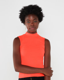 QUIZ Sleeveless Turtleneck Top Orange