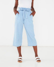 QUIZ Chambray Denim Paperbag Culotte Trousers Light Blue