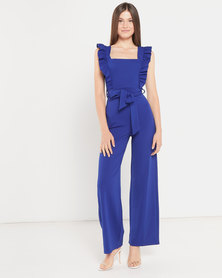 QUIZ Frill Sleeve Jumpsuit Royal Blue