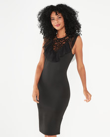 QUIZ Marcella Frill With Mesh Insert Dress Black