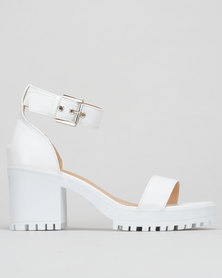 London Hub Fashion Heel Sling Back Sandals White