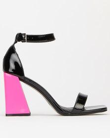 London Hub Fashion Flare Heels Black/Fuchsia