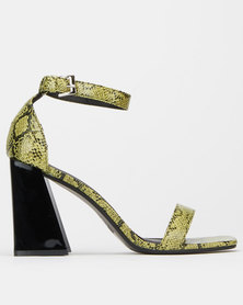 London Hub Flare Snakeskin Heels Green