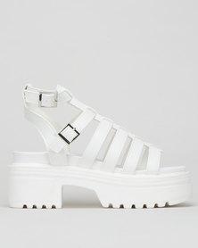 London Hub Chunky Jelly Sandals White