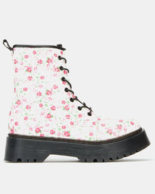 London Hub Fashion Gum Boots Floral