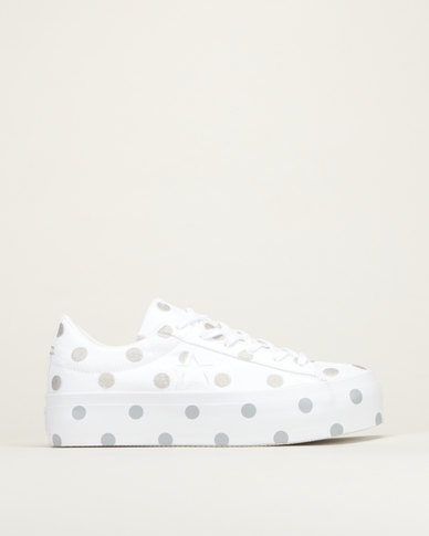 Converse One Star Platform Embroidered Dots OX Sneakers White/Mouse