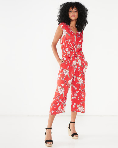 Utopia Floral Draped Knit Jumpsuit Red