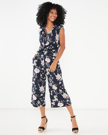 Utopia Floral Draped Knit Jumpsuit Navy