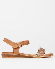 Utopia Snake Comfort Sole Sandals Tan