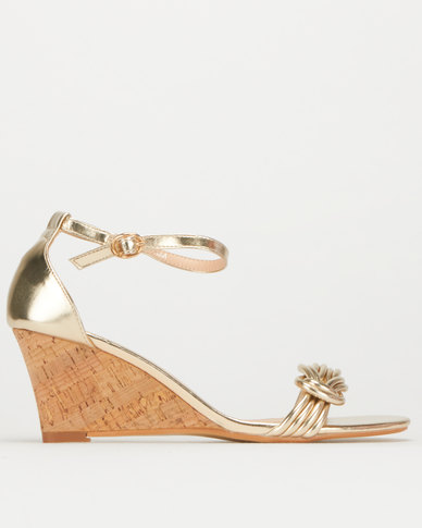 Utopia Closed Back Cork Wedge Gold
