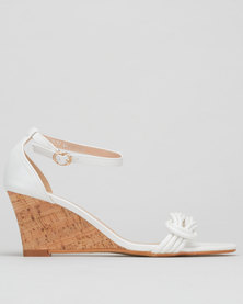 Utopia Closed Back Cork Wedge White