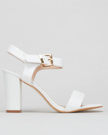 Utopia Ankle Strap Block Heels White