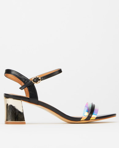 Utopia Gold Flare Heels Black