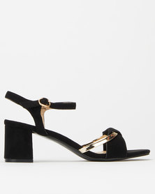 Utopia Gold Bar Block Heels Black