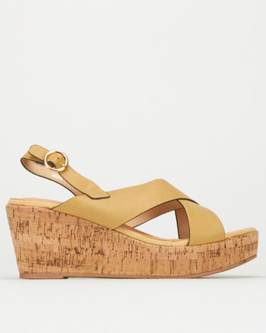 Utopia Nubuck and Cork Mid Wedge Mustard