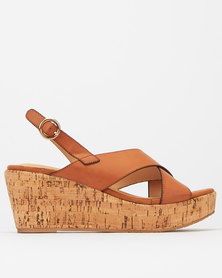 Utopia Nubuck And Cork Mid Wedge Tan