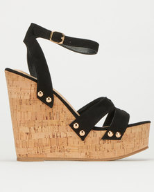 Utopia Faux Leather Cork Wedge Black
