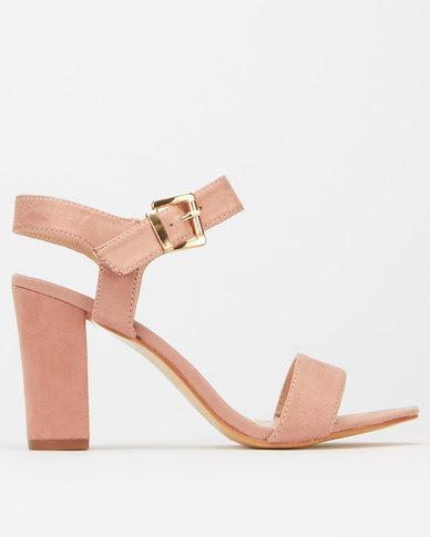 Utopia Ankle Strap Block Heel Dusty Pink